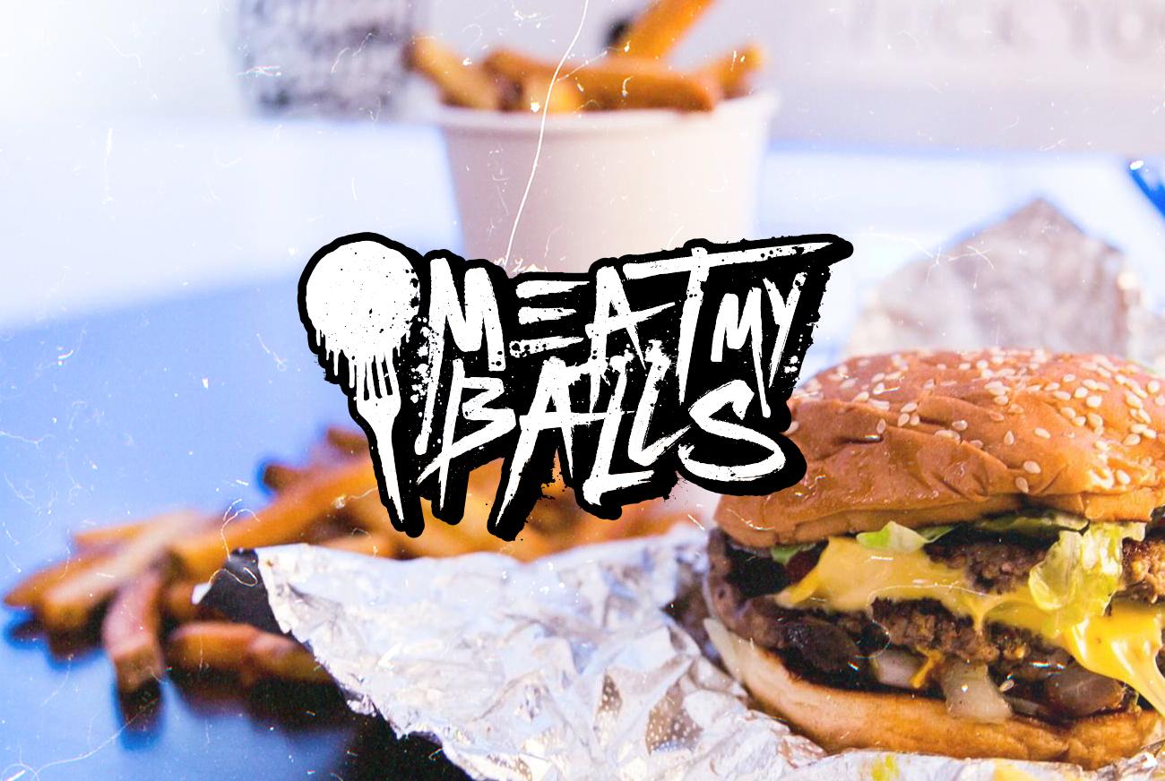 Meat My Balls Food Photography Burger Logo Design